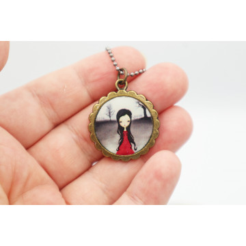 ♥ Alice and the flamingo - XL buttons 59mm